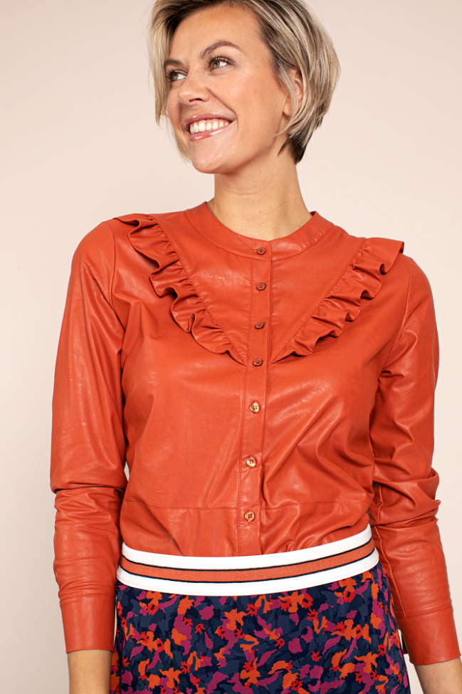 Odelia faux leather blouse