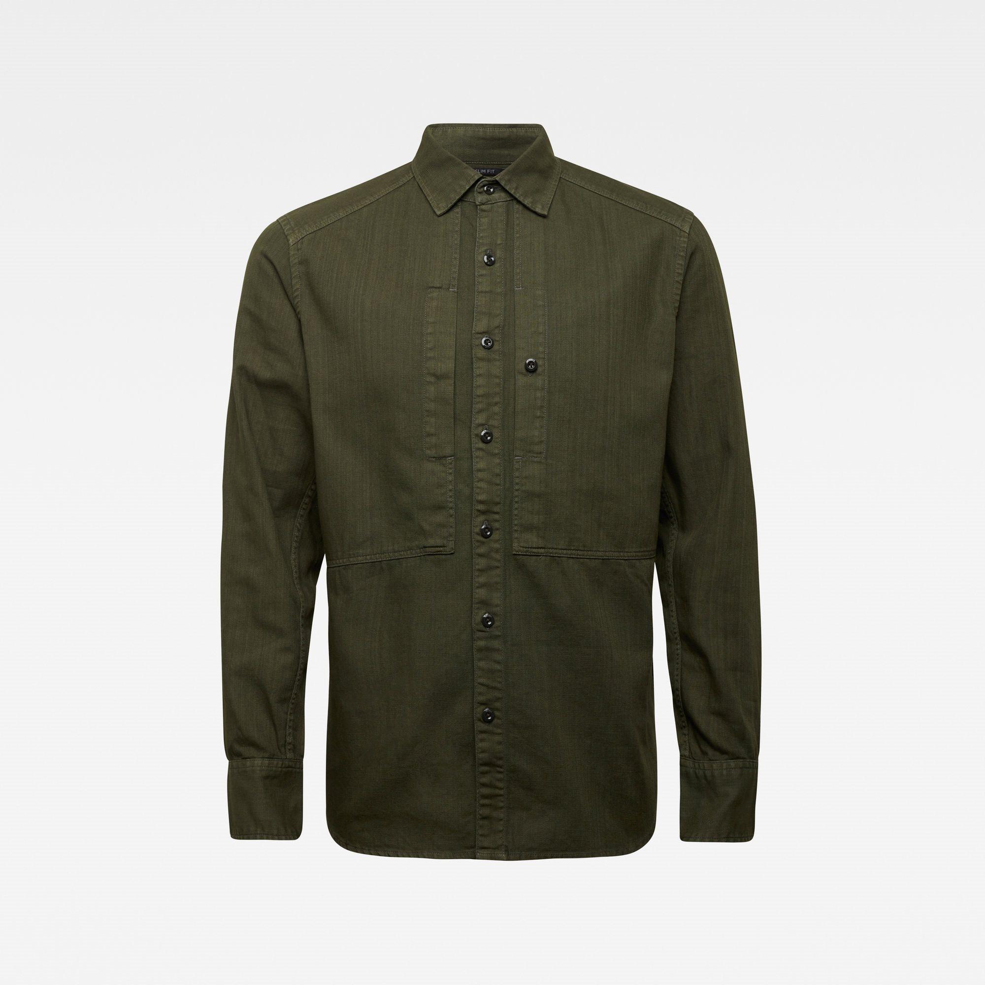 Panelled pkt slim shirt ls