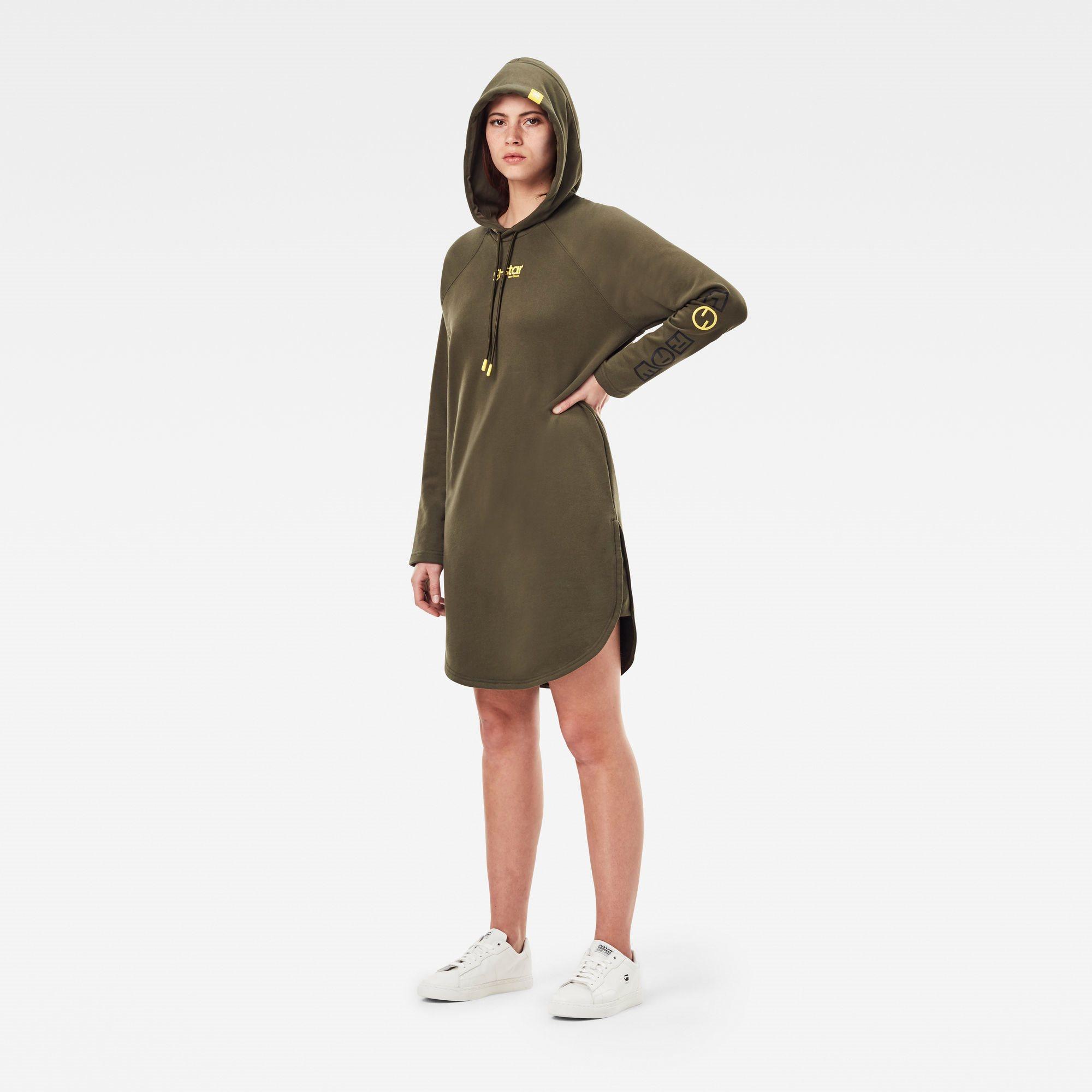 Sleeve print hooded sweat dres